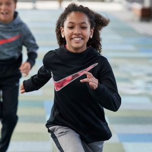 Nike Girls Black and Pink Dri-Fit Pullover Hoodie